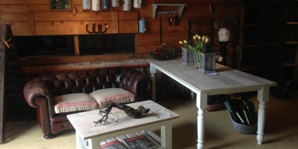 Salon- en eettafel , blad van steigerhout